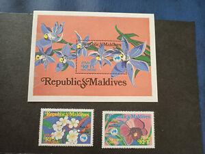 Ausipex 84 Maldives Mini Sheet & Flowers Stamp Set Mint Never Hinged