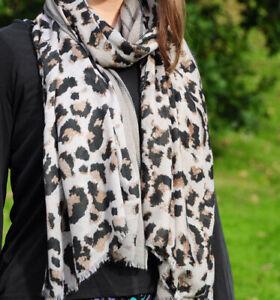 Leopard/Stripe Print Beige Grey Womens Fashion Scarf (Beige)