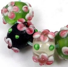Lampwork Handmade Glass Beads Pink Flower on Green Black Crystal Rondelle (6)