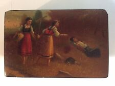 Early Russian Palak Hand Painted Lacquer Box