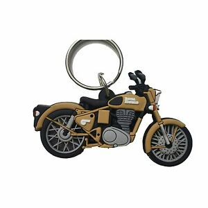 Rubber DoubleSided Royal Enfield Classic Bike Brown Colour Keychain free ship US