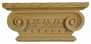 Wooden Greek Ionic Pilaster Capital, Hand Carved Decorative Wood Moulding, PN769