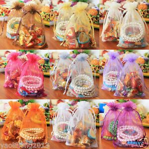 100Pcs Organza Wedding Party Favor Gift Candy Sheer Bags Jewelry Pouch