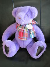 "Gund 1992 Victoria's Secret 15"" Purple Teddy Bear Plush - Plaid Bow - Vintage"