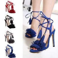 Ladies Tassel High Heel Fringe Open Peep Toe Sandals Strappy Stiletto Shoes Hot