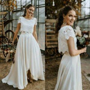 Wedding Dress Size 10 Boho 2 Piece Short Sleeve Lace Top High, Low Skirt A Line