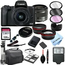 Canon EOS M50 Mark II Camera with 15-45mm STM Lens, + 128GB Card,(24PC Bundle)
