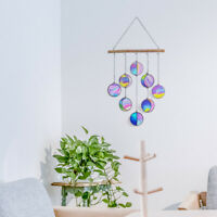 Clear and Rainbow Iridized Moon Phase Hanging-Stained plexiglass Moon Phase Deco