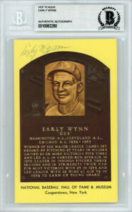 Early Wynn Autographed Signed HOF Plaque Postcard Indians Beckett 10983280