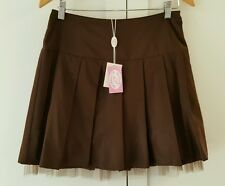 NWT Blugirl Blumarine brown pleated skirt, tulle lining Sz 6 US Retail $$350
