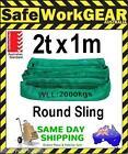 2 Tonne 1 Metre Round Lifting Sling Green Polyester Rigging