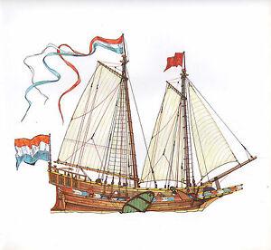 VINTAGE HISTORICAL SAILING SHIP PRINT ~ A DUTCH ADMIRALTY JACHT 1596