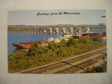 Vintage Photo Postcard Of A Mississippi River Lock And Dam Unused