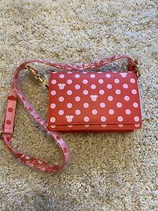 Disney Loungefly: Minnie Mouse Pink Polka Dot Bow Strap Crossbody Bag