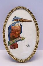 Gold Metal Convex Glass Danish Photo/ Picture Frame with Kingfisher Embroidery