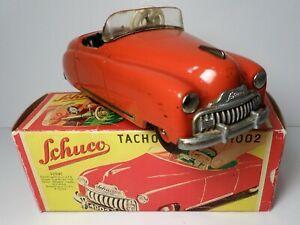 VINTAGE SCHUCO TIN WINDUP RED TACHO-EXAMICO 4002 WORKING W/BOX