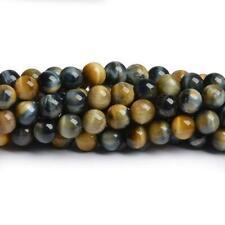 Tiger Eye Round Beads 8mm Yellow/Blue 40+ Pcs Gemstones Jewellery Making Crafts