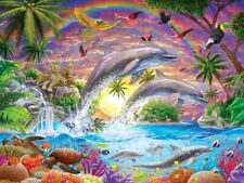 Jigsaw Puzzle Animal Fish Dolphin Fantasy Isle 300 EZ Grip over sized pieces NEW