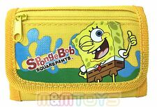 New Sponge-Bob Yellow Tri-Fold Mini Wallet Purse for Kids