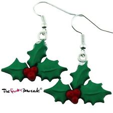 TFB - FESTIVE HOLLY DANGLE EARRINGS FUN RETRO QUIRKY NOVELTY GIFT GIRLS XMAS