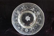 18th C. Georgian Hand-Blown Wheel Engraved Glass Dinner Plate w. Sterling Rim