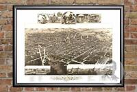 Vintage Kalamazoo, MI Map 1883 - Historic Michigan Art Old Victorian Industrial