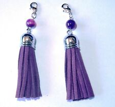 2 x 85 mm PURPLE Suede Tassel Pendant  and Natural Agate Beads free post