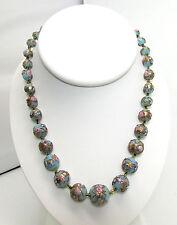 Antique Art Deco Venetian Wedding Cake Glass Bead Necklace Murano 16 inches