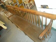 Rare Antique Shaker Meeting House Deacons Bench Hand Hewn Plank 9 Ft Long