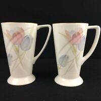 Set of 2 VTG Cappuccino Mugs Mikasa Swiss Garden Bone China Floral CR009 Japan