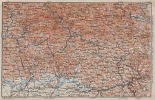 Bayrischerwald. foresta bavarese CHAM Passau BÖHMERWALD Karte. BAEDEKER 1910 mappa