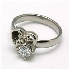 Zirconia Love Ring, Size 8 Stainless Steel .25 Grade Aaa Cubic