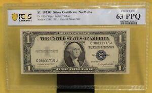 1935G $1 SILVER CERTIFICATE NO Motto Graded 63 PPQ PCGS # 1105749.63/41486315