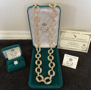 Gold Link w/ Rhinestone Neckace and Diamond Ring- Grace Kelly Collection