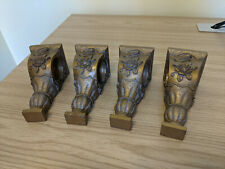 4 Vintage Ornate Resin Curtain Rod Holders Wall Sconce Shelf Carved Gold Roses