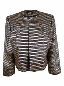 Nine West Women's Metallic Jaquard Jacket 16, Black/ Gold