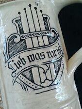 Antique German stoneware beer stein bierkrug 1/2 L.  Lieb was rar ist )))RARE(((