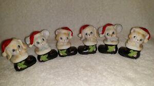 Homco Vtg Christmas 6 Set Lot Cat Dog Mouse In Boot Santa Hat #8903 In Box