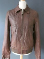 "SCOTCH & SODA LAMBSKIN LEATHER FLIGHT JACKET (L-42"") BOMBER HARRINGTON COAT - Ex"