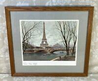 Vintage Framed & Matted Georges B Paris Print of Eiffel Tower