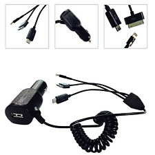 BLACK 8 PIN ,MICRO USB,30 PIN CAR CHARGER FOR iPHONE 5 5C 5S 5G