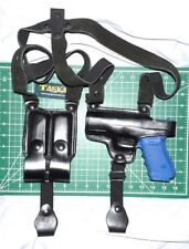 Tagua SH4-321 LH Black Leather Shoulder Holster Dual Magazine Pouch Glock 20 21