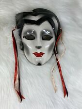 About Face Ceramic Wall Mask-Vtg Original Clay Art San Francisco with Red Lips
