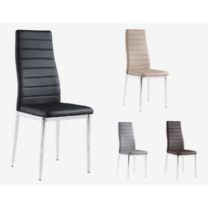 MODERN PU LEATHER/CHROME KITCHEN DINING  CHAIRS (SET OF 6)✅WARRANTY INCLUDED✅