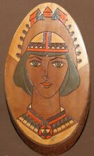 Vintage Russian pyrography painted wood wall hanging abstract portrait plaque