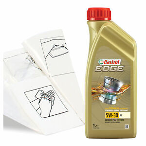 Engine Oil Top Up 1 LITRE Castrol EDGE 5w-30 LL 1L +Gloves,Wipes,Funnel