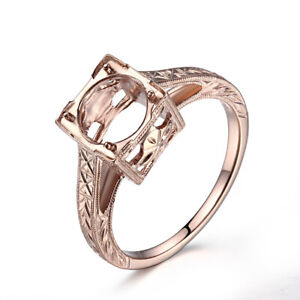 Fine Jewelry Round 8mm Semi Mount Ring Prong Settings Only Solid 18K Rose Gold