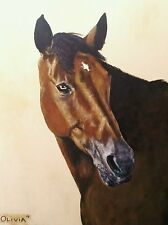 """CUSTOM HORSE PORTRAIT PAINTING by artist BETS 18"""" X 24"""" Your Wonderful Horse!!"""