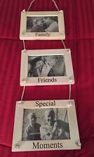 """New Fetco 3 Rope Hanging Picture Frame Triple Beige Wood 3.5 x 5 Photos 23"""" Long"""