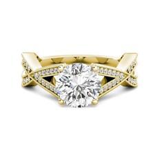 3.05 tcw Round Charles Colvard Moissanite & Diamond Engagement Ring 14k Y Gold